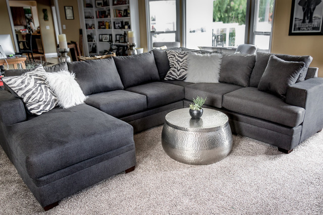 Kerri Charcoal 2 Piece Sectional With Left Arm Facing Chaise .