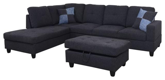 Linen L Shape Sectional Sofa set with Storage Ottoman .