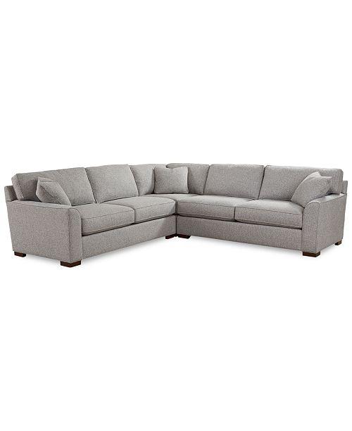 "Furniture CLOSEOUT! Carena 3-Pc. Fabric ""L"" Shaped Sectional Sofa ."