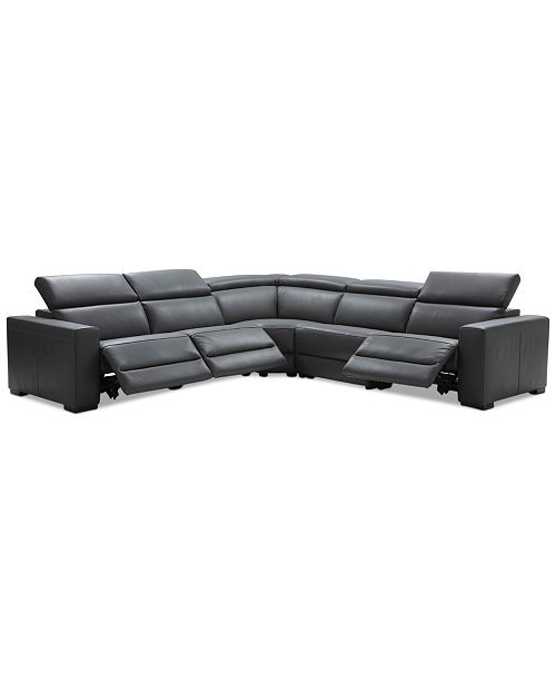 """Furniture Nevio 5-pc Leather """"L"""" Shaped Sectional Sofa with 3 ."""