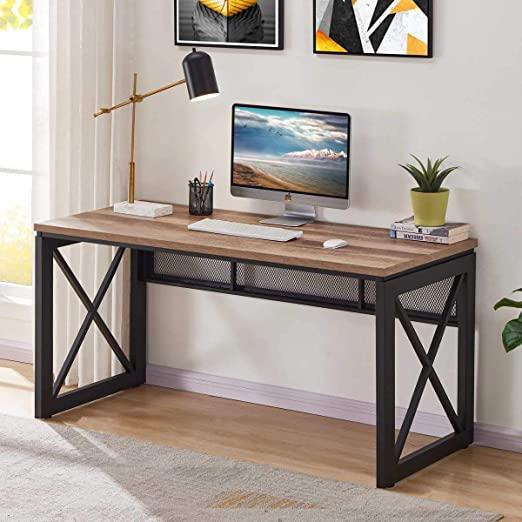Amazon.com: BON AUGURE Industrial Office Computer Desk, Wood and .