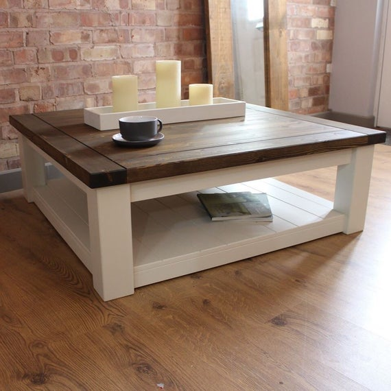 Large Square Handmade Solid Pine Farmhouse Coffee Table | Et