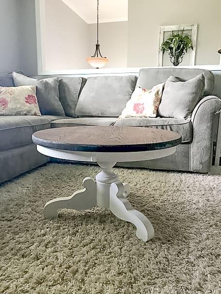 DIY Pedestal/Round Coffee Table- Farmhouse Style! A Full Tutorial!