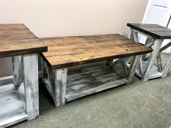 Farmhouse Living Room Set End Tables Set and Coffee Table | Et