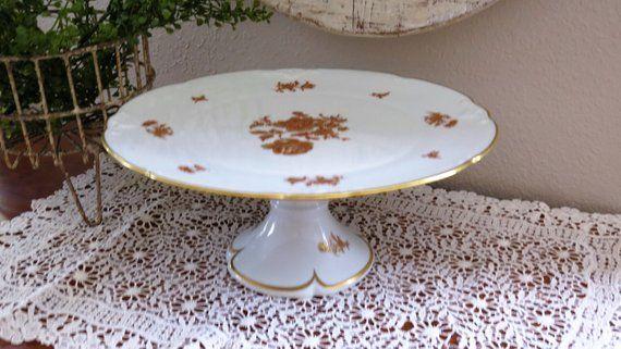 Vintage Limoges France Porcelain Cake Stand - French Fine China .