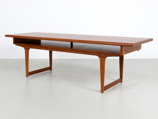 Large Teak Danish Coffee Table, 1960s for sale at Pamo
