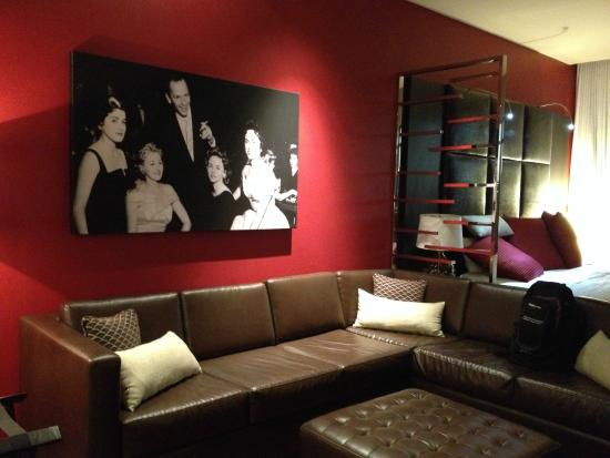 Sectional sofa with photo of Frank - Golden Gate Hotel & Casino .