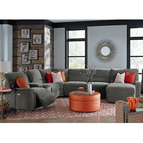 ASPEN Seven Piece Power Reclining Sectional Sofa with Cupholders .