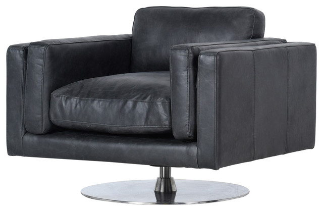 Locke Modern Ebony Black Leather Swivel Chair - Contemporary .