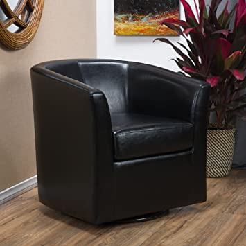 Amazon.com: Christopher Knight Home Daymian PU Swivel Club Chair .