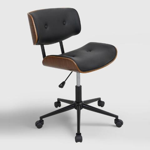 Black Leander Swivel Office Chair | World Mark