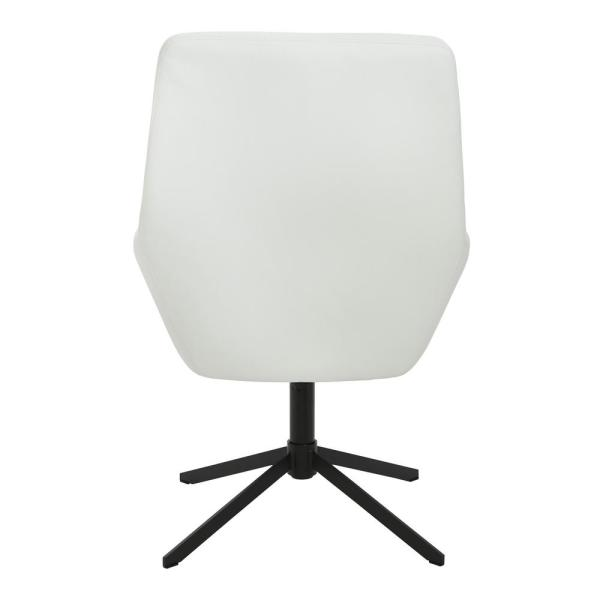 Office Star Products Tubby White Swivel Chair in Faux Leather with .