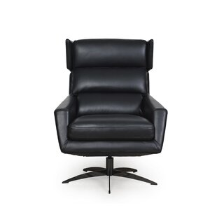 Black Leather Swivel Chair | Wayfa
