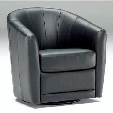 Contemporary Galleries - Leather Swivel Chair B596 Bla