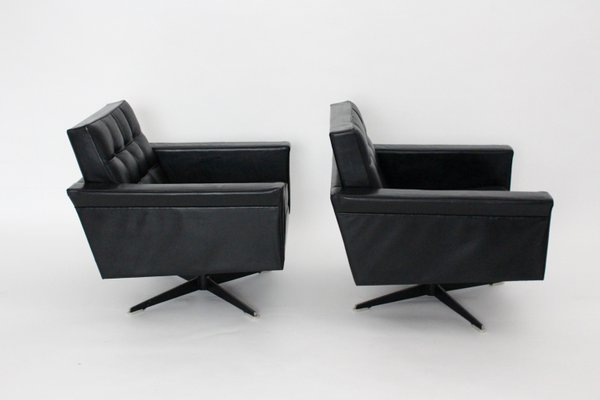 Black Leather Swivel Chairs by Johannes Spalt, 1960s, Set of 2 for .