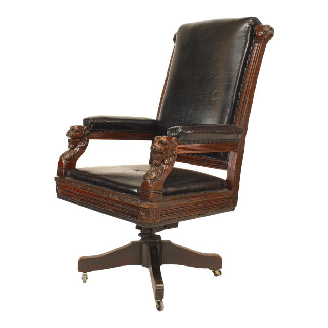 English Victorian Black Leather Swivel Chair | Chairi