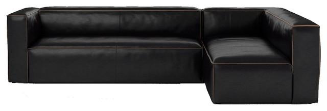 Nolita Saddle Black Leather Modular Sectional Sofa - Contemporary .
