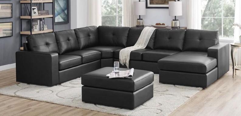 7 pc Latitude Run black faux leather modular sectional sofa set .