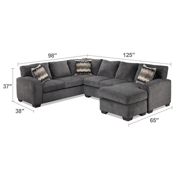 Living Room Furniture - Perth 2-Piece Sectional with Right-Facing .