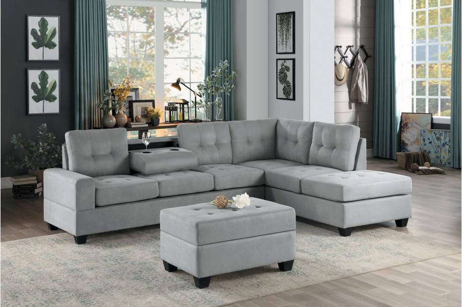 HE-9507GRY-3PC 3 pc Maston gray fabric reversible sectional sofa .
