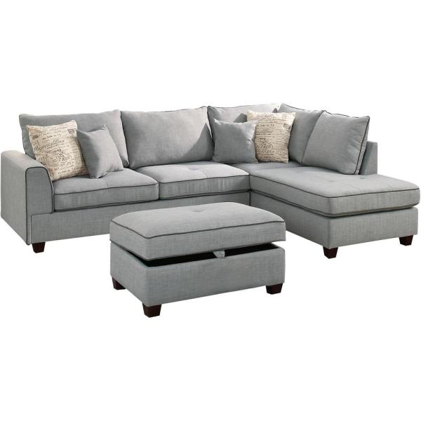 Venetian Worldwide Siena 3-piece Sectional Sofa in Light Gray with .