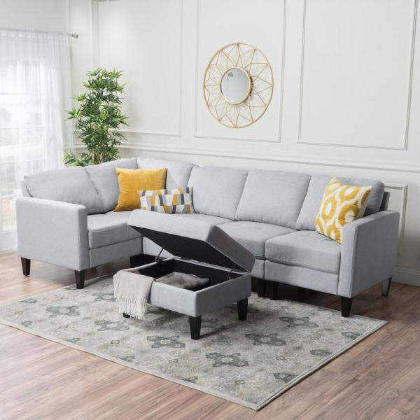 Zahra Light Grey Sectional Couch with Ottoman 12165 - The Home Dep