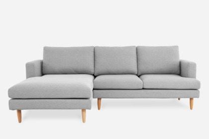 Tana Sectional Sofa, Light Gray, Left Facing | Castlery United Stat