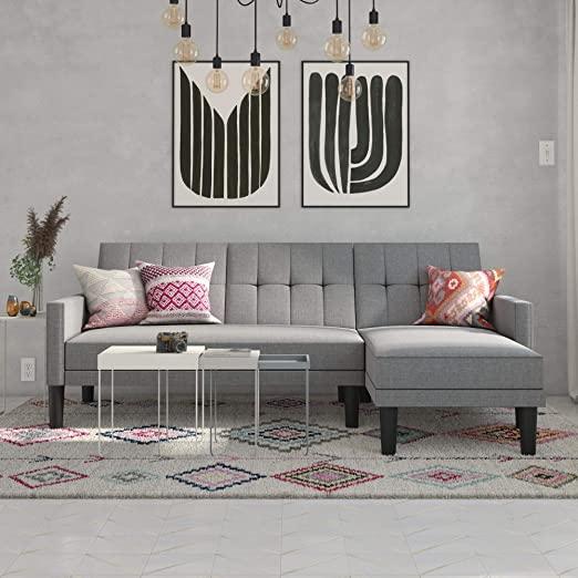 Amazon.com: DHP Haven Small Space Sectional Futon Sofa, Light Grey .