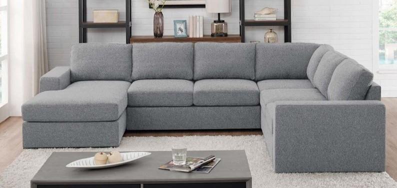 Ashton Light Gray Linen Like Fabric Modular Sectional Sofa .
