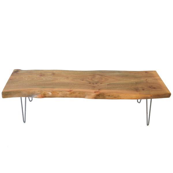 Light Natural Wood Reclaimed Live Edge Slab Coffee Table - Woodwav