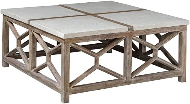 Amazon.com: My Swanky Home Open Light Weathered Wood Coffee Table .