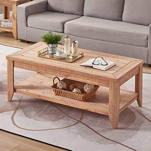 BON AUGURE Natural Wood Coffee Table with Storage Shelf, Rustic .