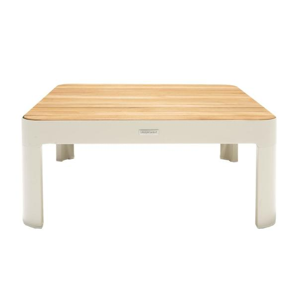 Armen Living Portals Outdoor Square Coffee Table in Light Matte .