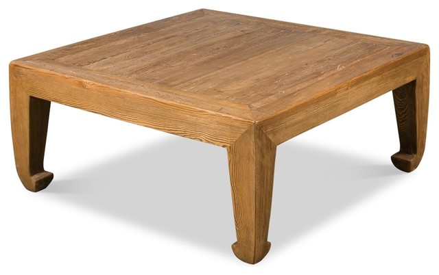 """39"""" Chinese Coffee Table Reclaimed Pine Wood Natural Light Brown ."""