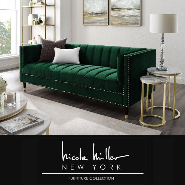 Liv Hunter Green/Gold Velvet Sofa - Line Stitch Tufted, Gold .