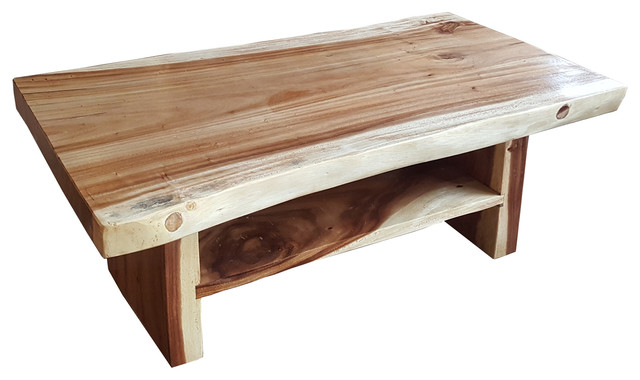 Suar Live Edge Slab Coffee Table With Shelf - Rustic - Coffee .