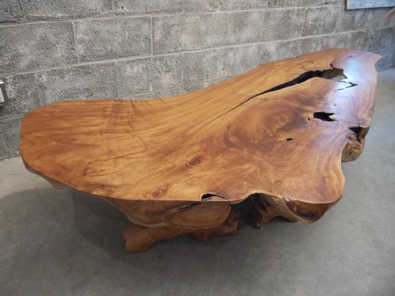 Teak live edge coffee table | Coffee table wood, Round wood coffee .