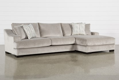 Lodge Fog 2 Piece Sectional With Right Arm Facing Oversized Chaise .