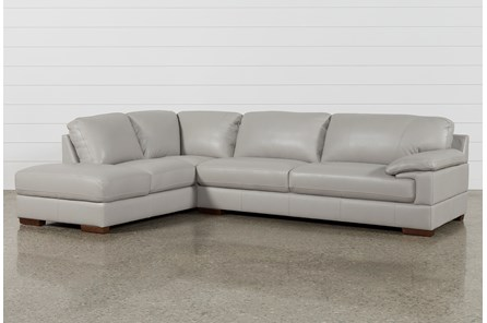 Nico Light Grey Leather Sectional With Left Arm Facing Armless .