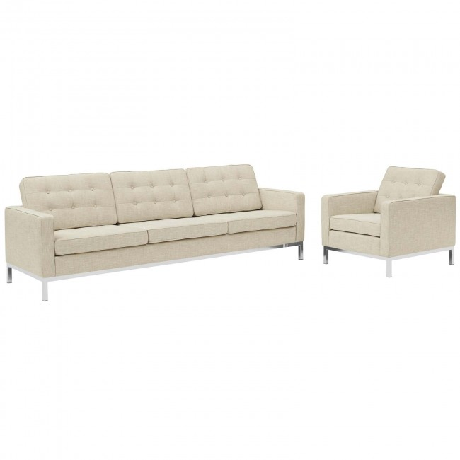 Loft Beige 2 Piece Upholstered Fabric Sofa and Arm Chair Set EEI .