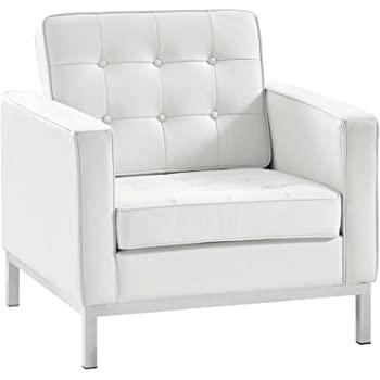Amazon.com: Modway Loft Upholstered Genuine Leather Mid-Century .