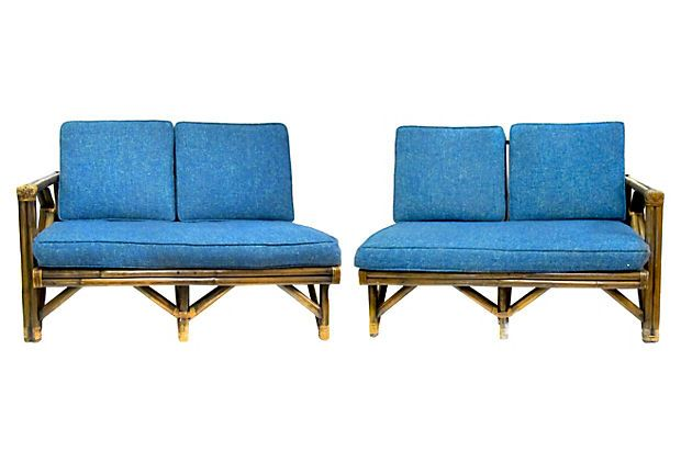 Midcentury Bamboo Sectional Couch, 2 Pcs on OneKingsLane.com From .