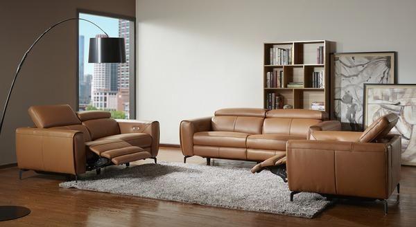 London Motion Sofa Set in Caramel | Modern recliner sofa, Modern .