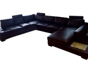 Black Leather Sectional Couch | Leather couch sectional, Leather .
