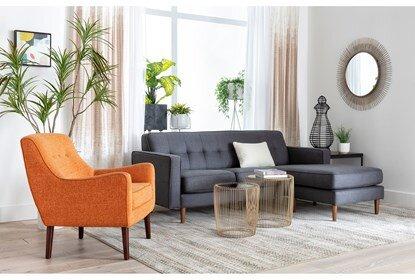 London Dark Grey Reversible Sofa Chaise | Living Spac