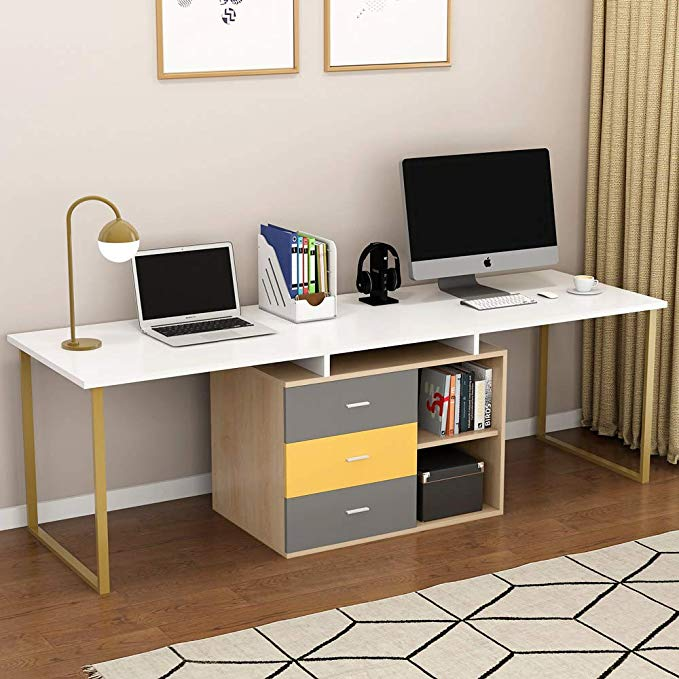 """Amazon.com: Tribesigns 87"""" Extra Long Computer Desk for Two Person ."""