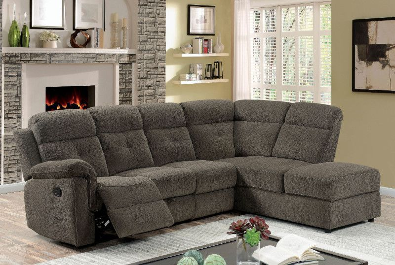 CM6597 2 pc Avia gray linen like fabric sectional sofa with .
