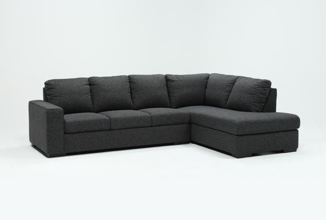 Lucy Dark Grey 2 Piece Sleeper Sectional W/Raf Chaise | Living .
