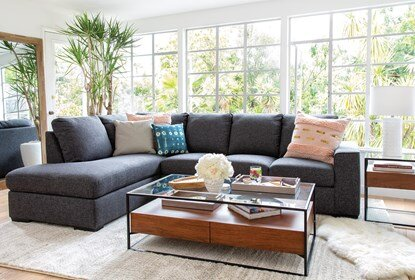 Lucy Dark Grey 2 Piece Sleeper Sectional With Left Arm Facing .