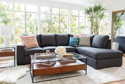 Lucy Dark Grey 2 Piece Sectional With Right Arm Facing Chaise .